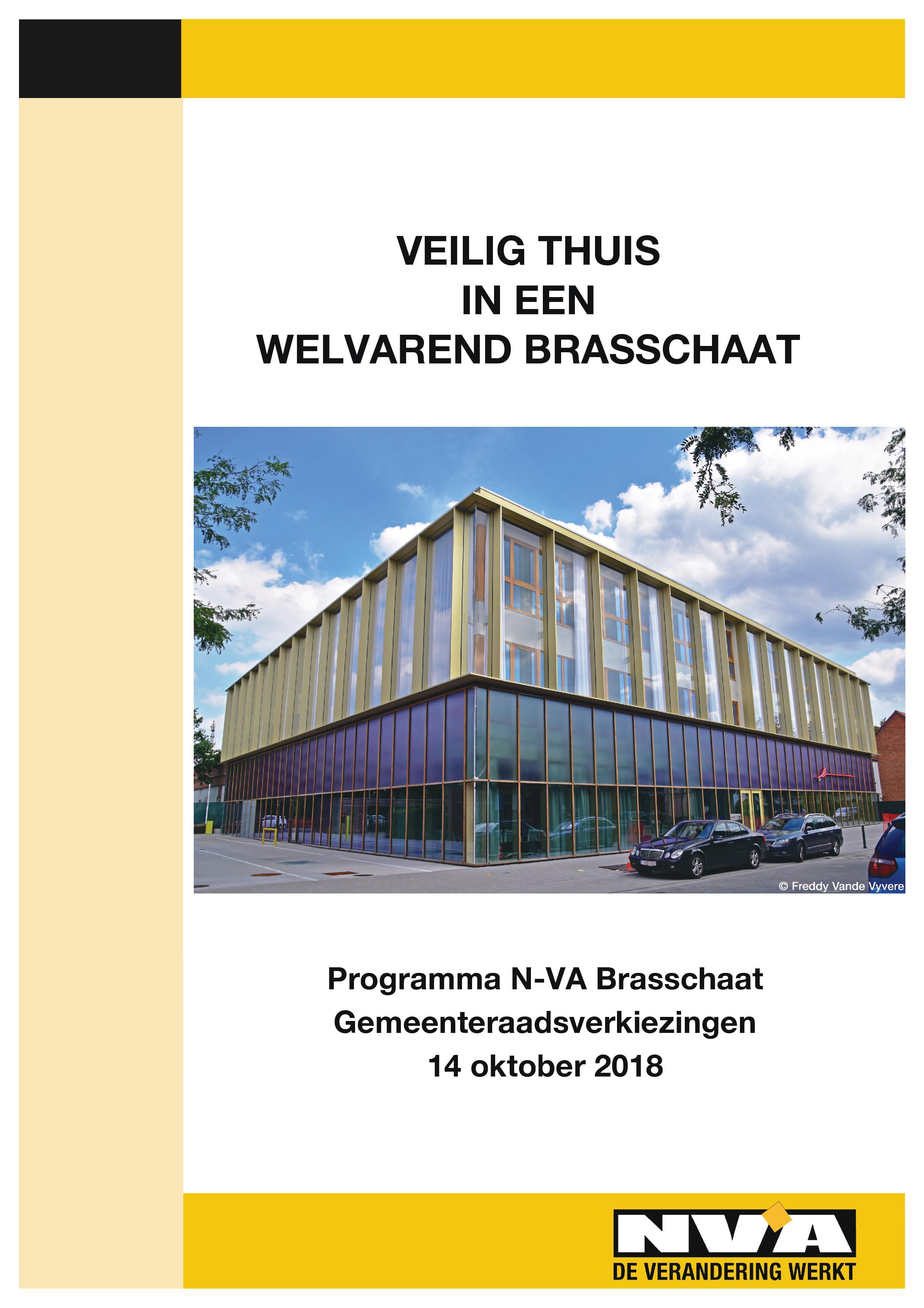 Cover Programma N-VA Brasschaat gemeenteraadsverkiezingen 14 oktober 2018