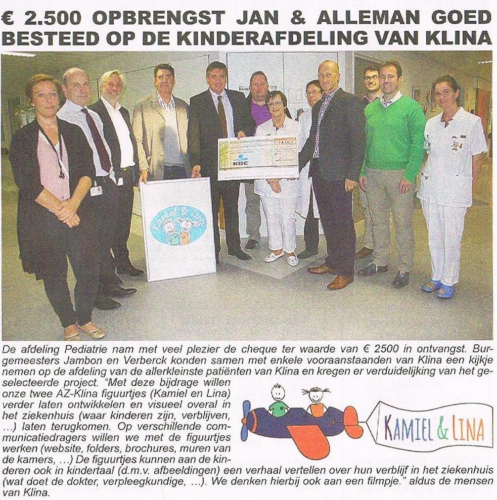 cheque J&A aan kinderafdeling Klina