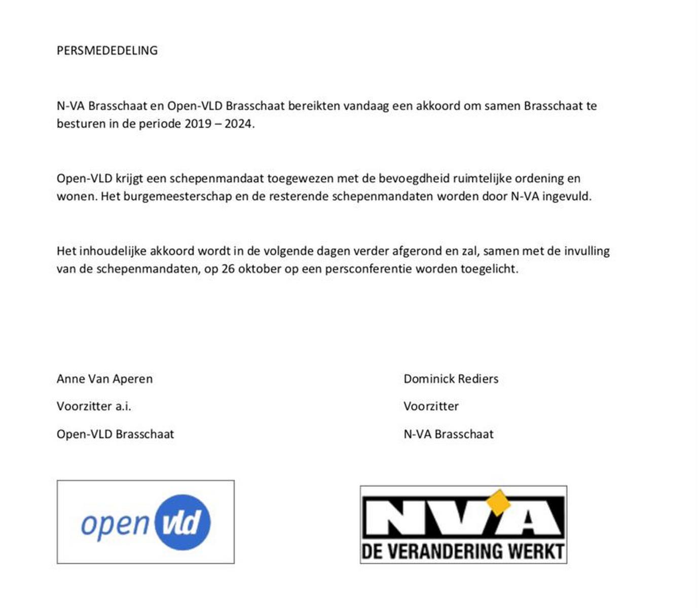 persmededeling O-VLD/N-VA